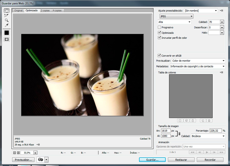 Ejemplo de como optimizar una imagen usando photoshop